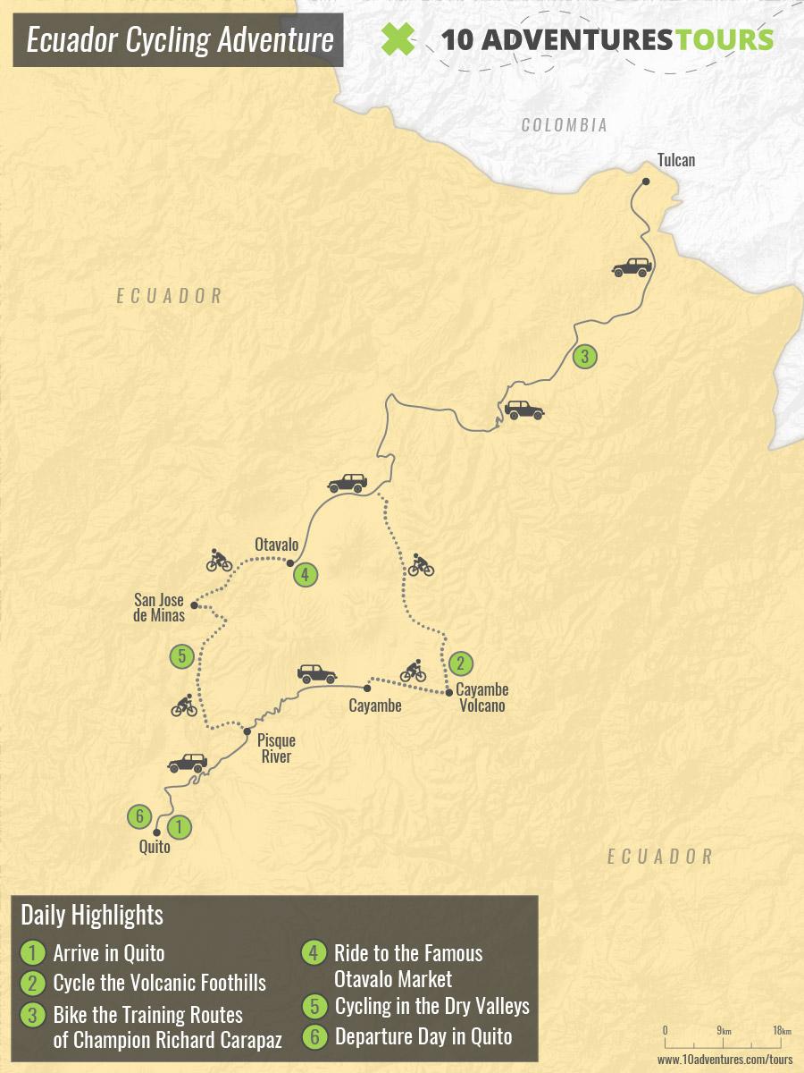 Map of Ecuador Cycling Adventure