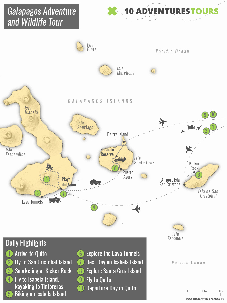 Map of Galapagos Adventure and Wildlife Tour