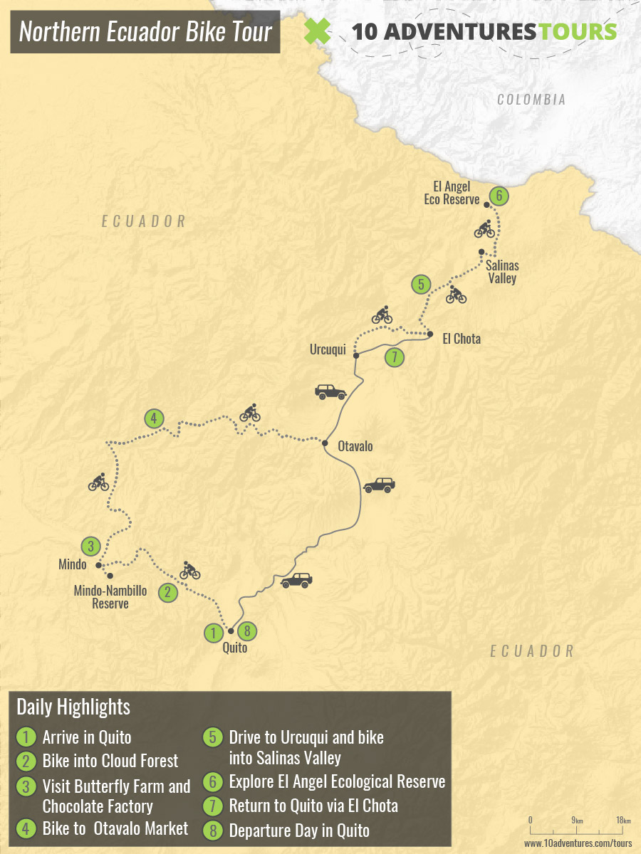 Map of Northern Ecuador Bike Tour