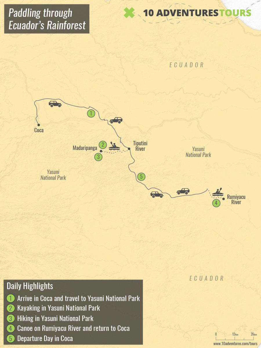 Map of Paddling through Ecuador's Rainforest