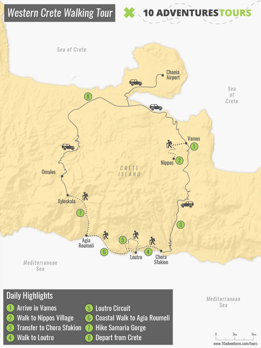 Map of Western Crete Walking Tour