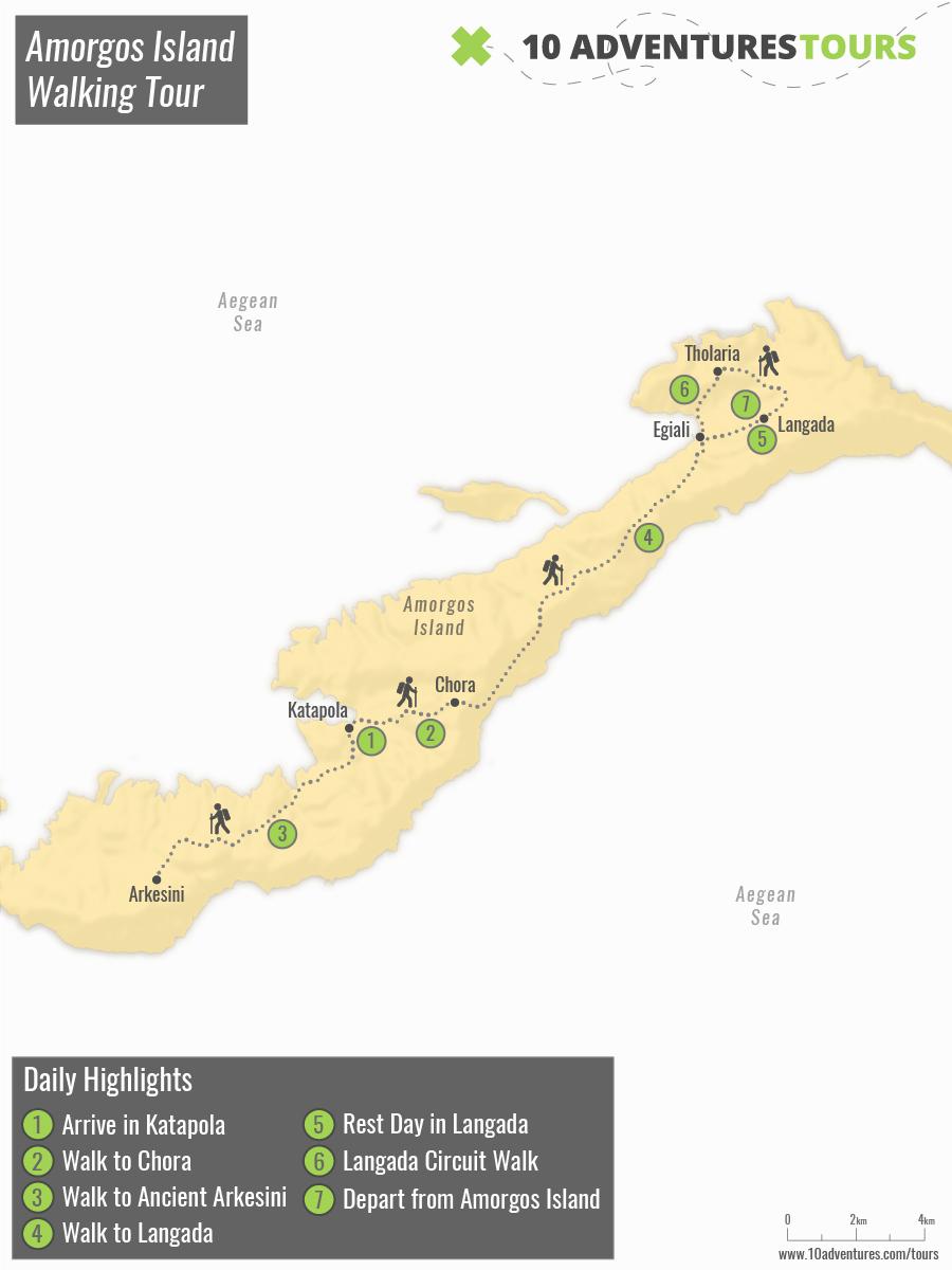 Map of Amorgos Island Walking Tour