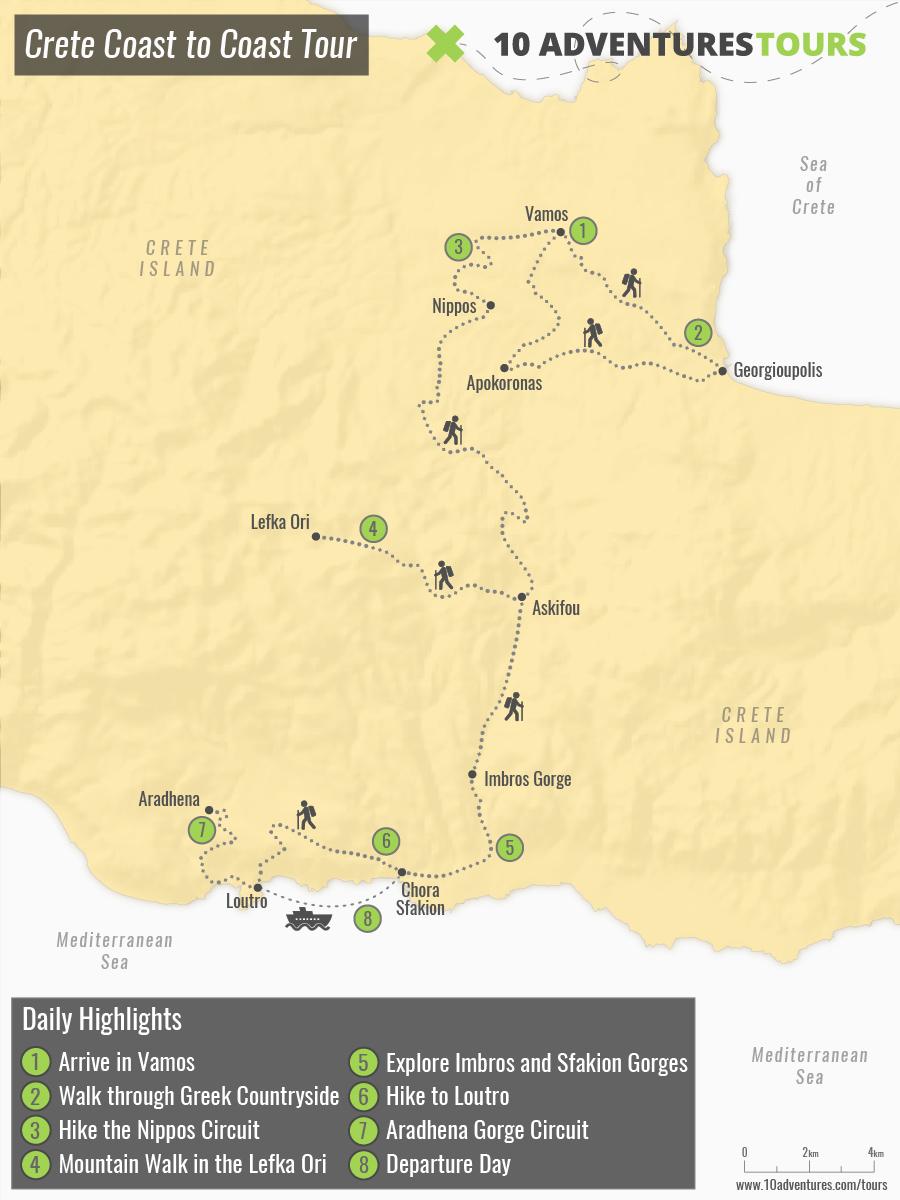 Map of Crete Coast to Coast Tour