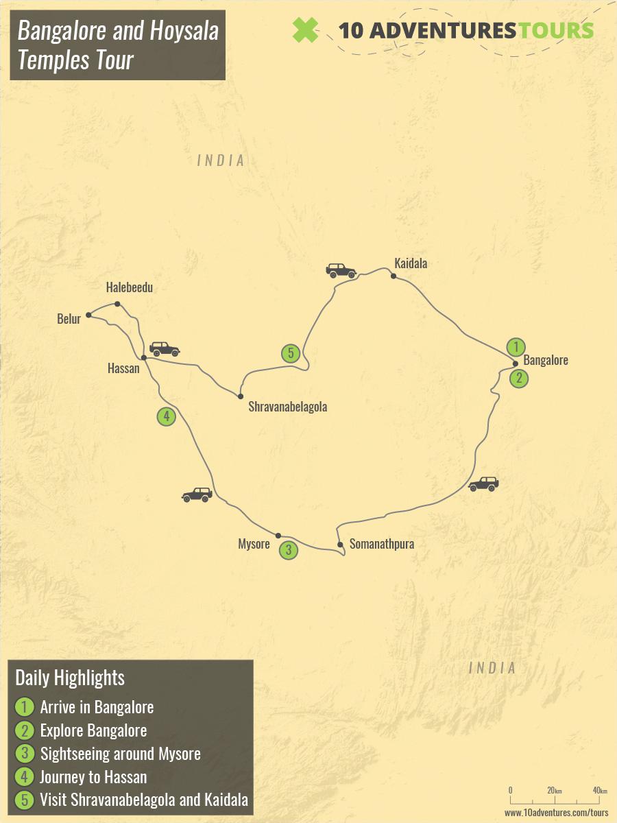 Map of Bangalore and Hoysala Temples Tour