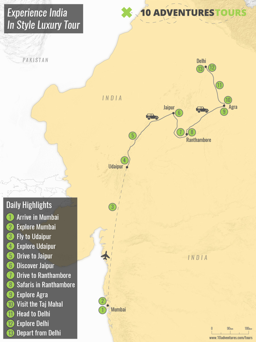 Map of Experience India In Style Luxury Tour
