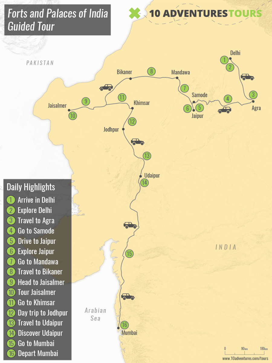 Map of Forts and Palaces of India Guided Tour
