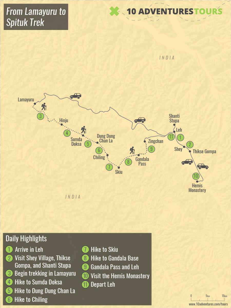 Map of From Lamayuru to Spituk Trek
