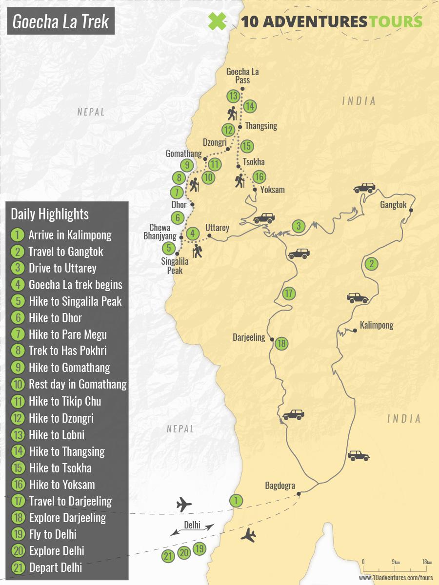 Map of Goecha La Trek