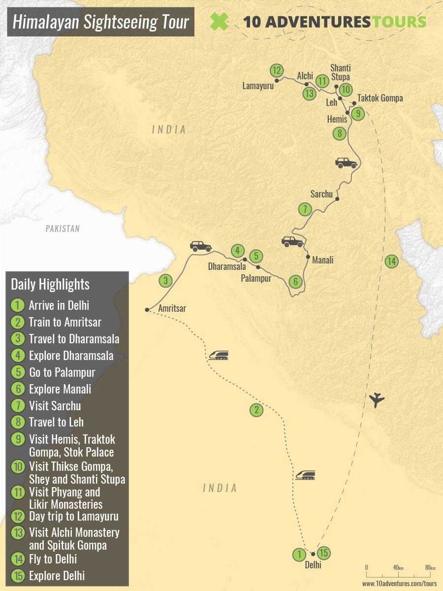 Map of Himalayan Sightseeing Tour