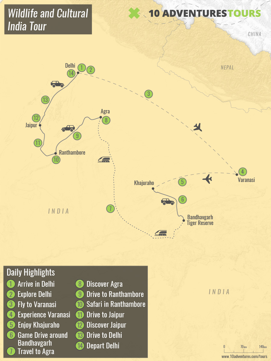 Map of Wildlife and Cultural India Tour
