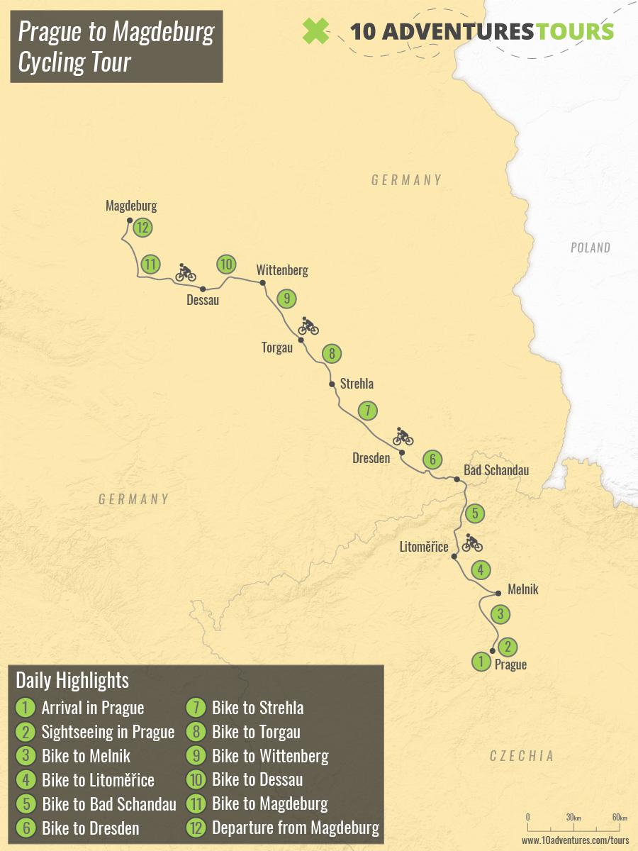 Map of Prague to Magdeburg Cycling Tour