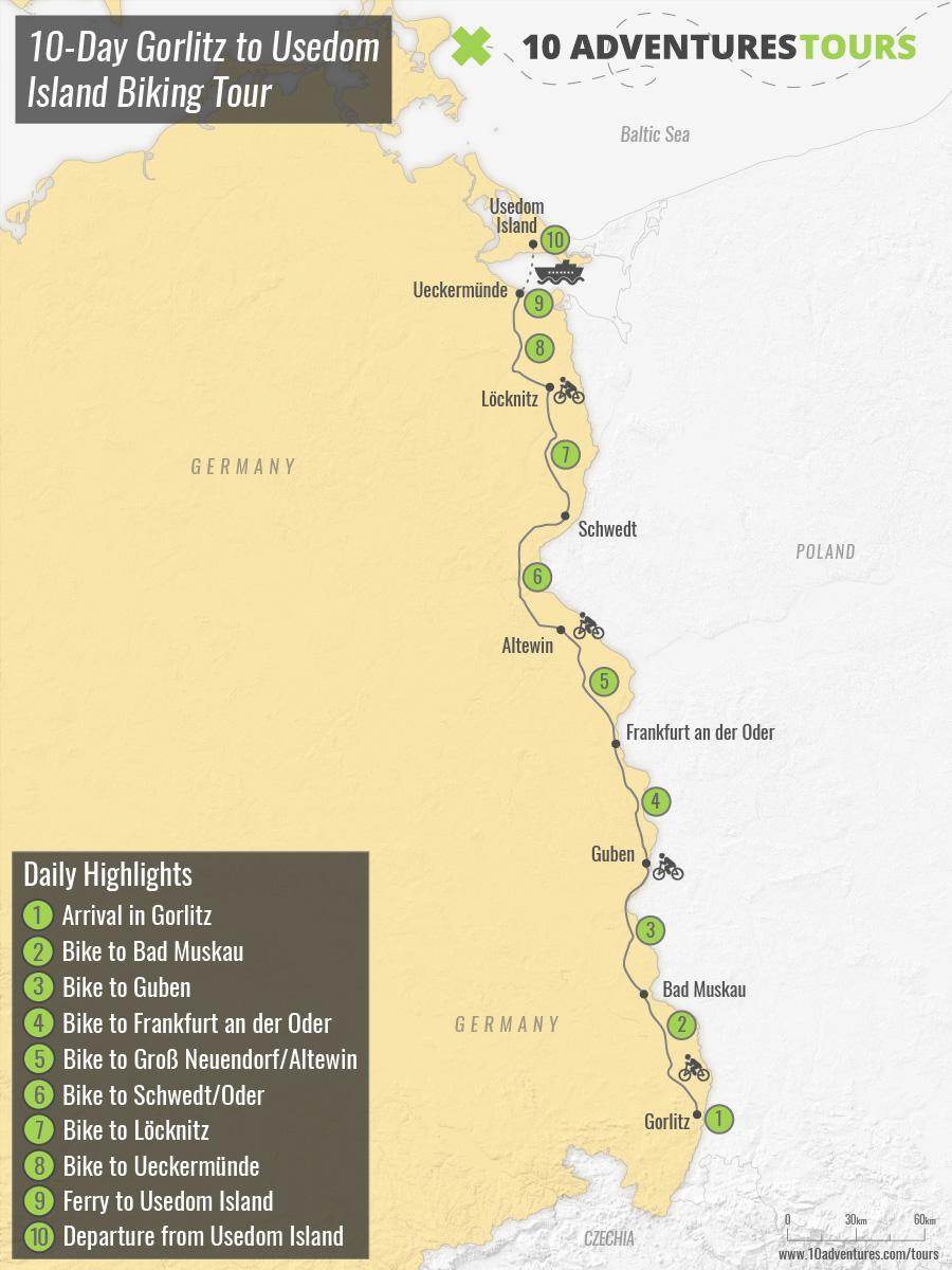 Map of 10-Day Gorlitz to Usedom Island Biking Tour