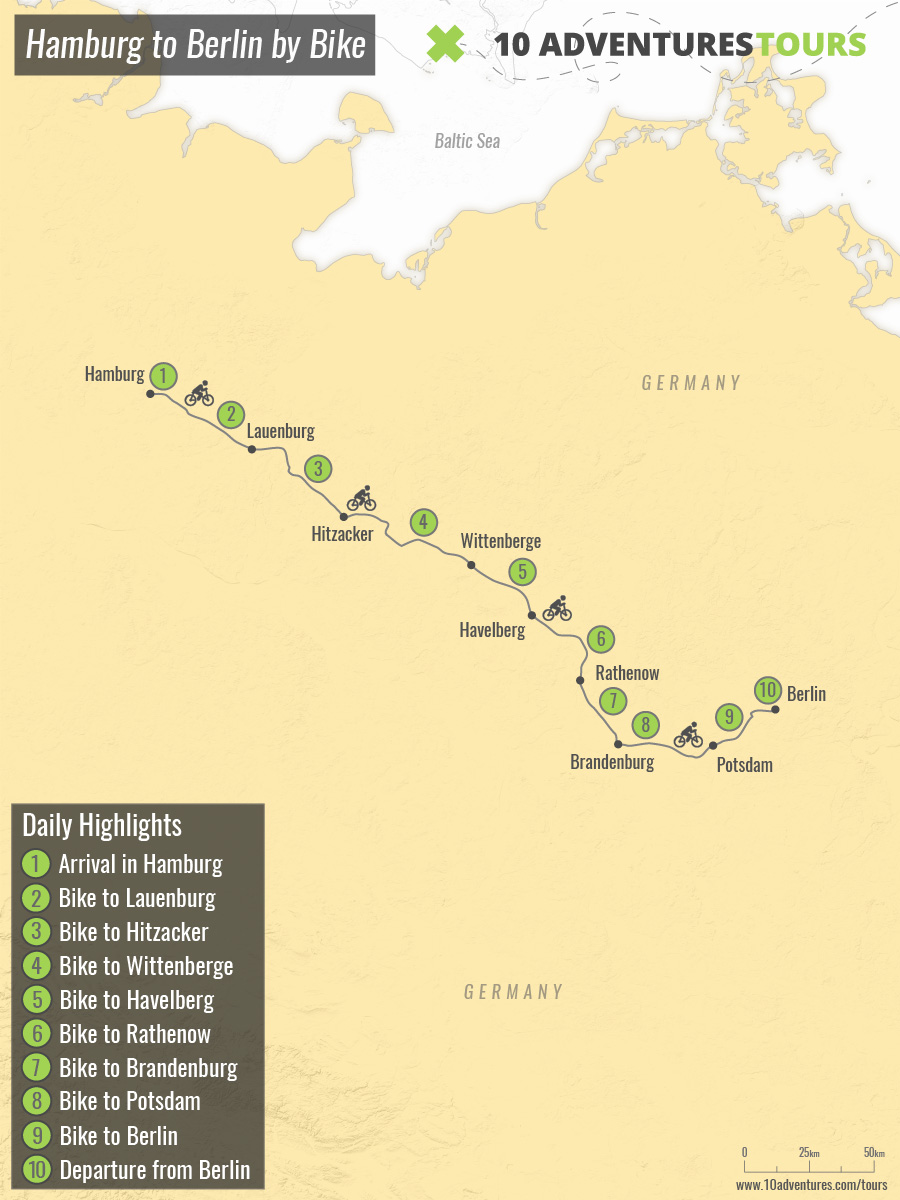 Map of Hamburg to Berlin by Bike