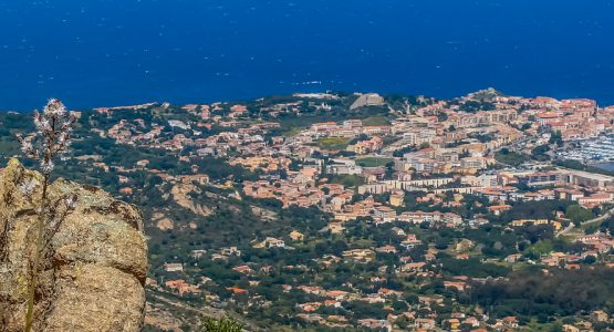 Panoramic view from Corsica Mountains and Sea