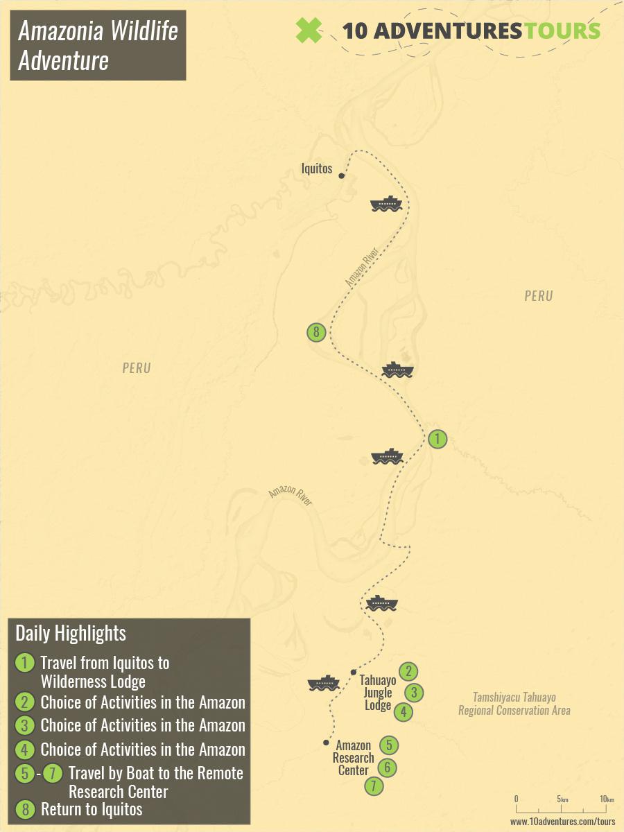 Map of Amazonia Wildlife Adventure
