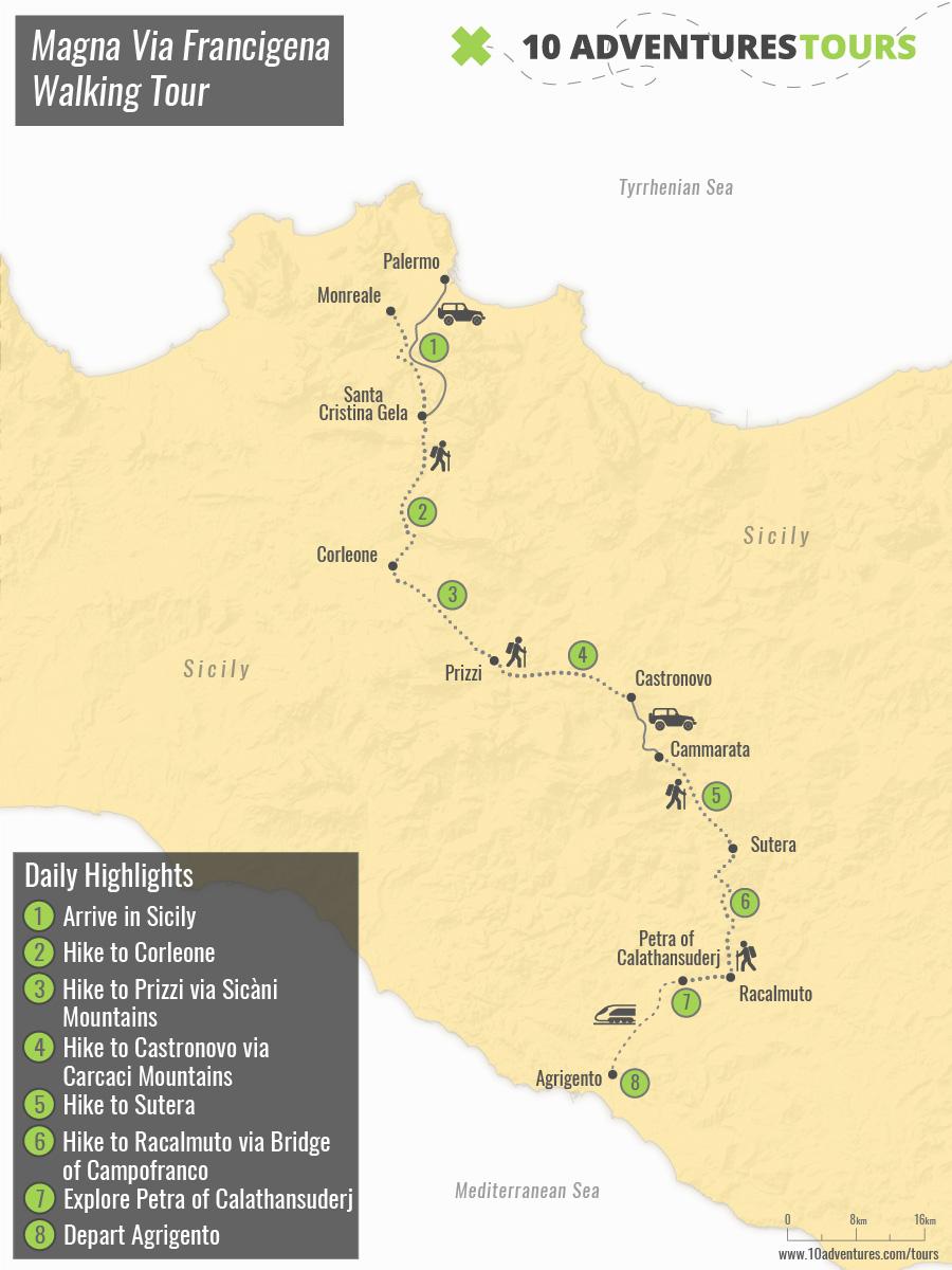 Map of Magna Via Francigena Walking Tour