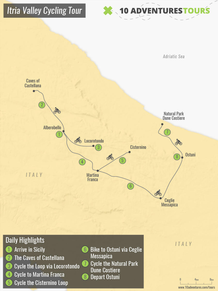 Map of Itria Valley Cycling Tour