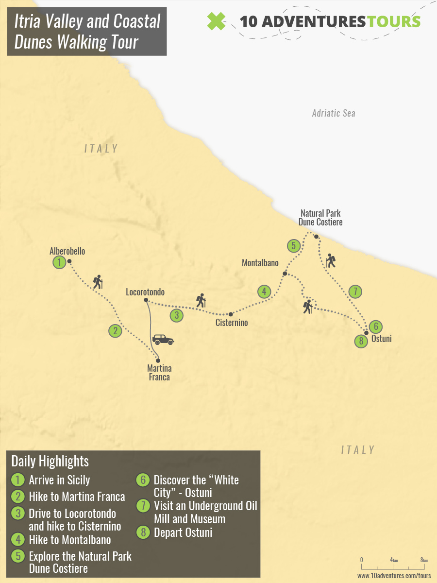 Map of Itria Valley and Coastal Dunes Walking Tour