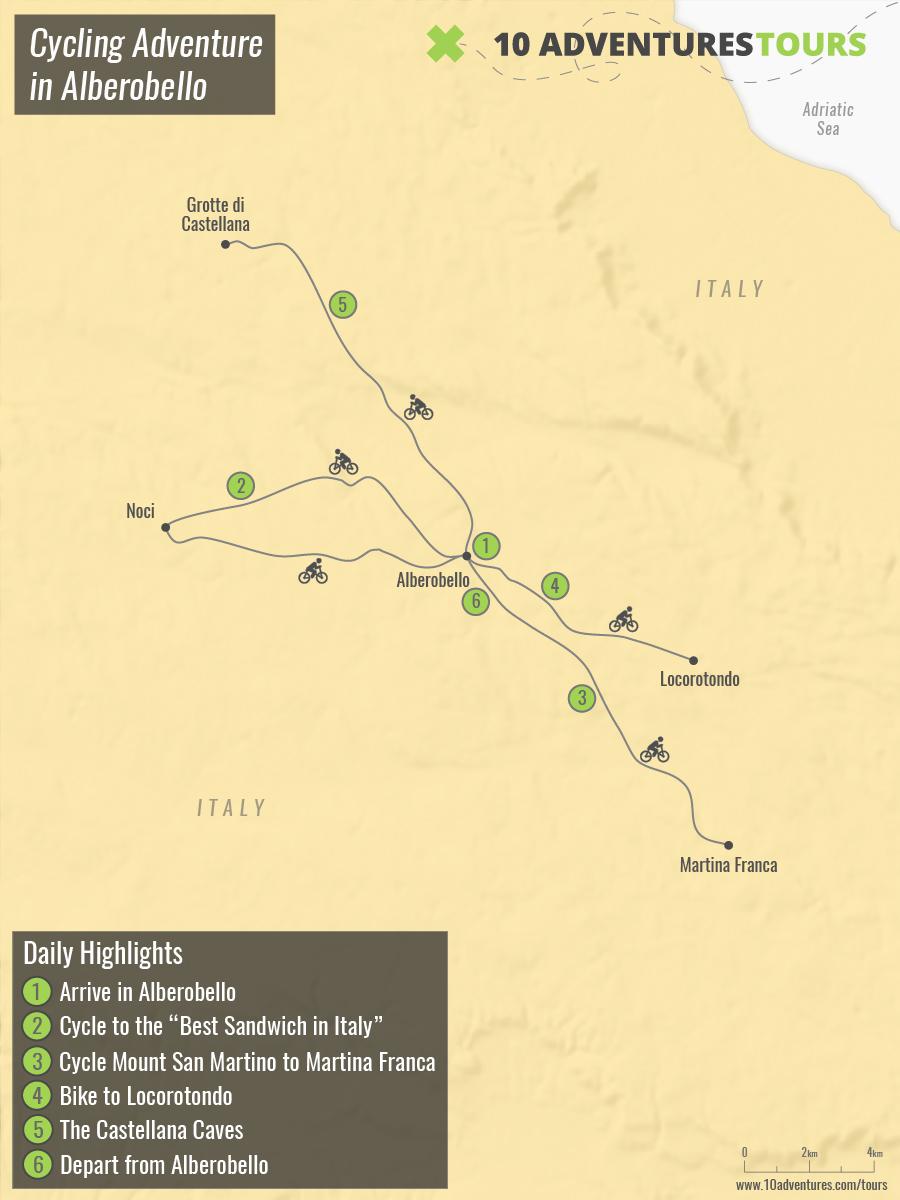 Map of Cycling Adventure in Alberobello