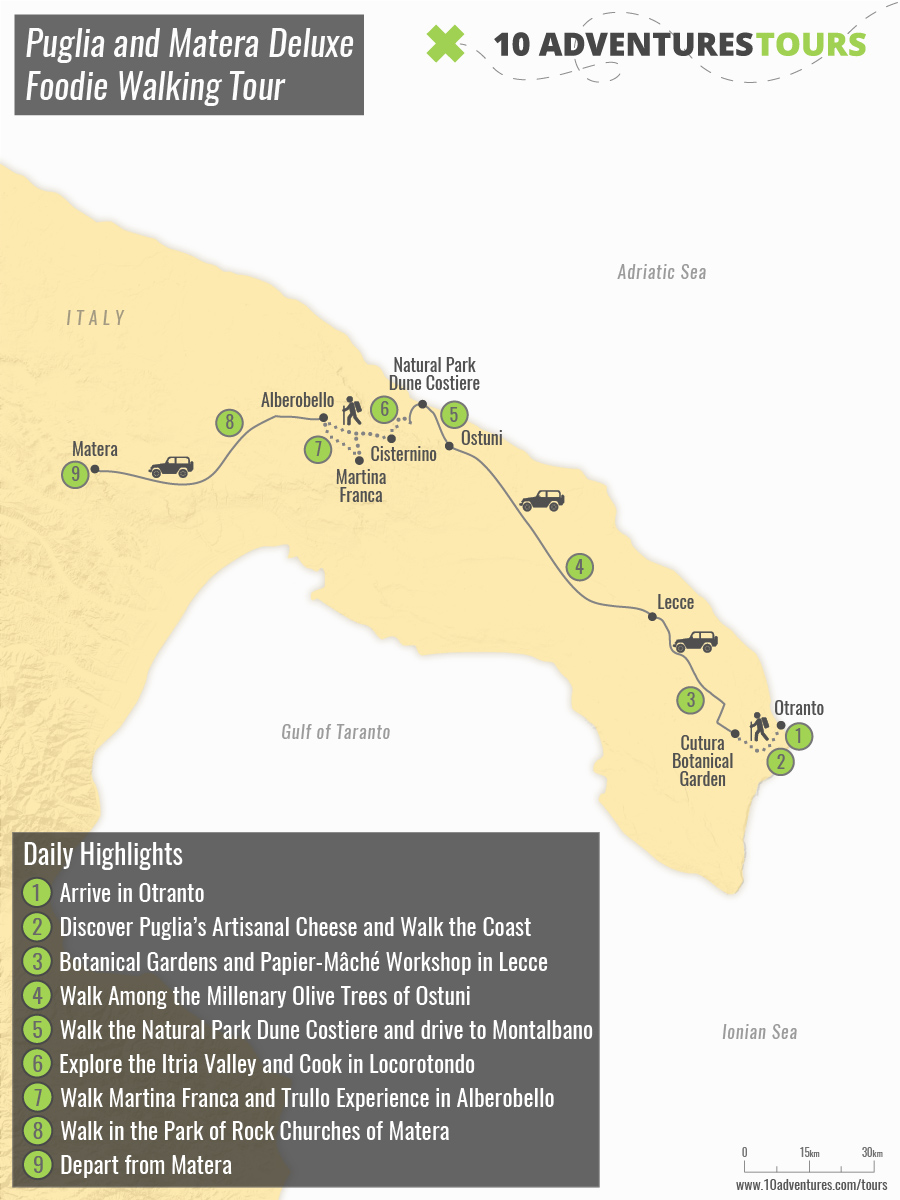 Map of Puglia and Matera Deluxe Foodie Walking Tour