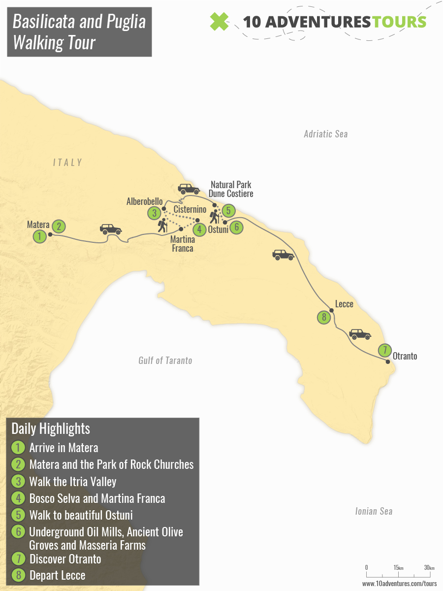 Map of Basilicata and Puglia Walking Tour