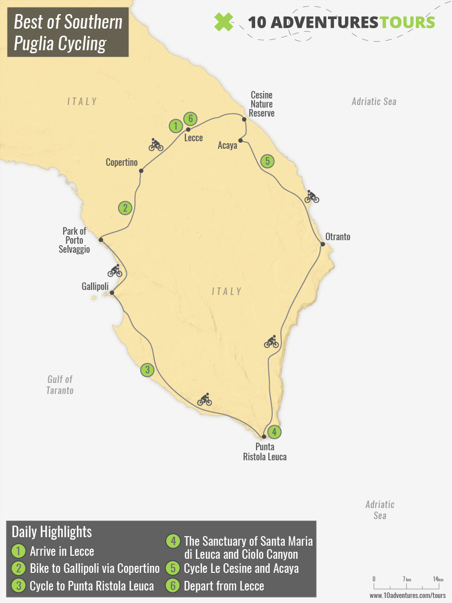 Map of Best of Southern Puglia Cycling
