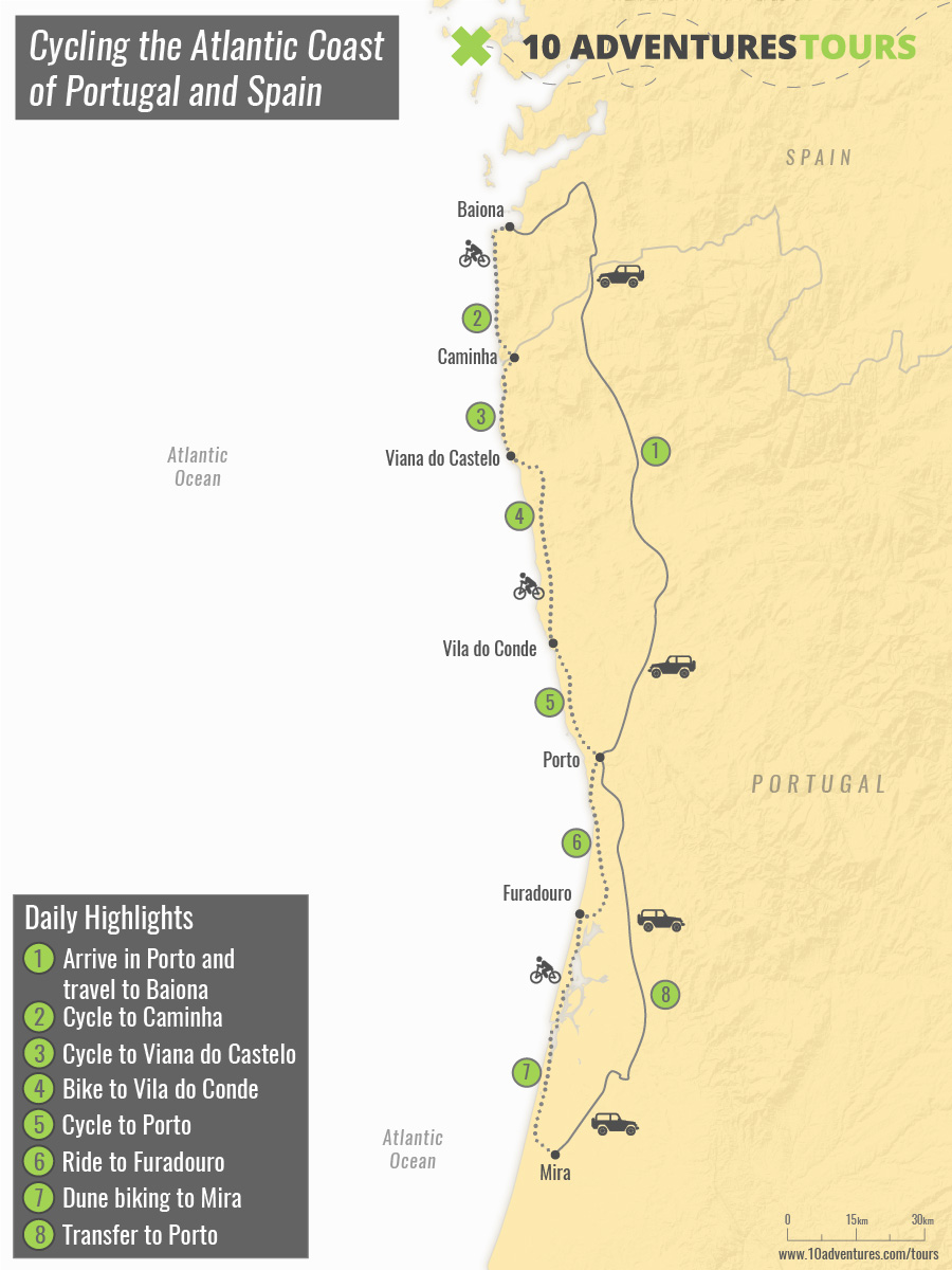 Map of Cycling the Atlantic Coast of Portugal and Spain