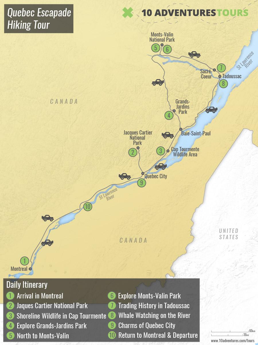 Map of Quebec Escapade Hiking Tour
