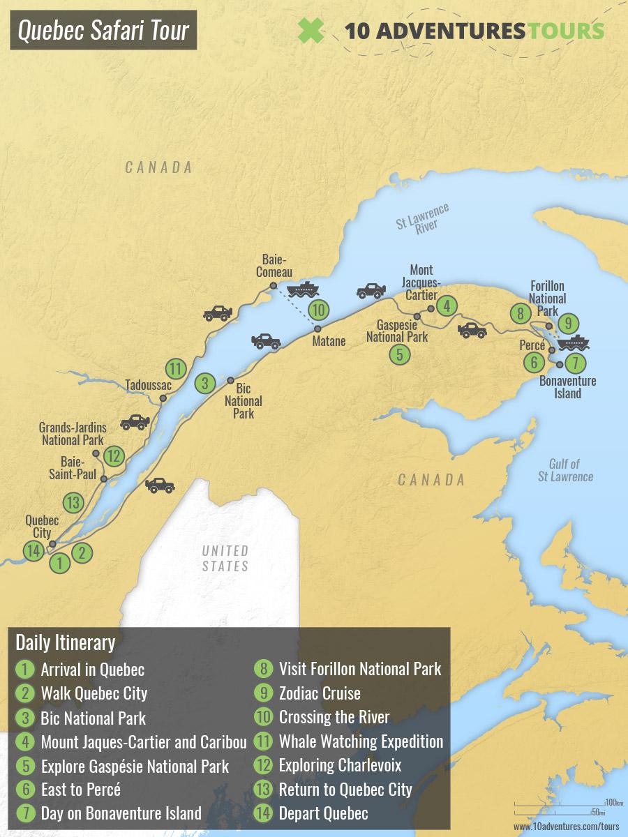 Map of Quebec Safari Tour