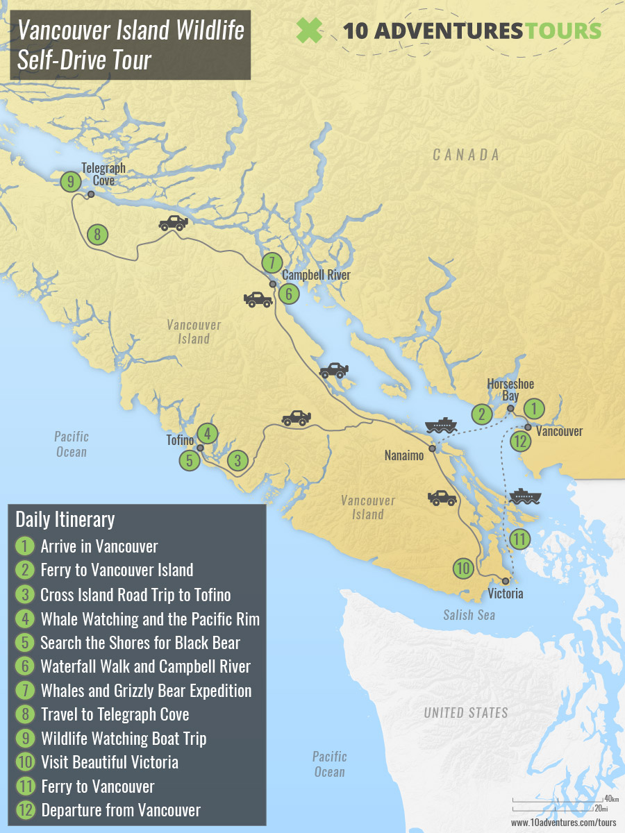 Map of Vancouver Island Wildlife Self-Drive Tour