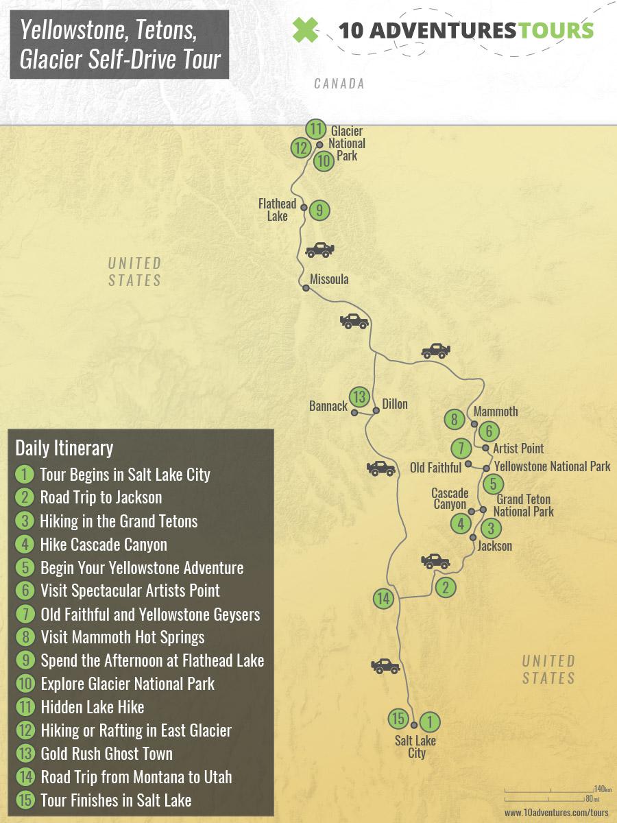 Map of Yellowstone, Tetons, Glacier Self-Drive Tour