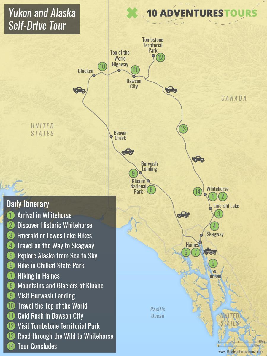 Map of Yukon and Alaska Self-Drive Tour