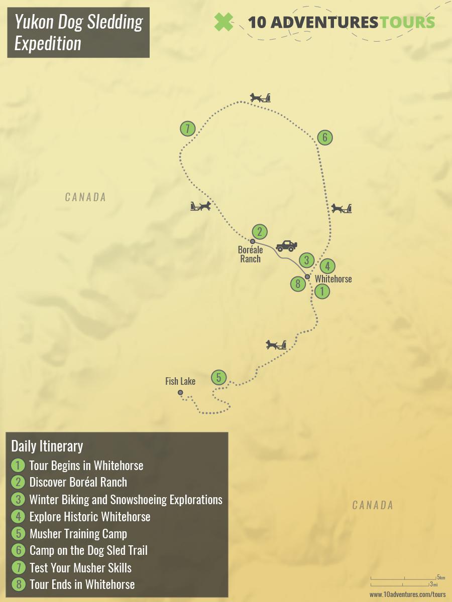 Map of Yukon Dog Sledding Expedition