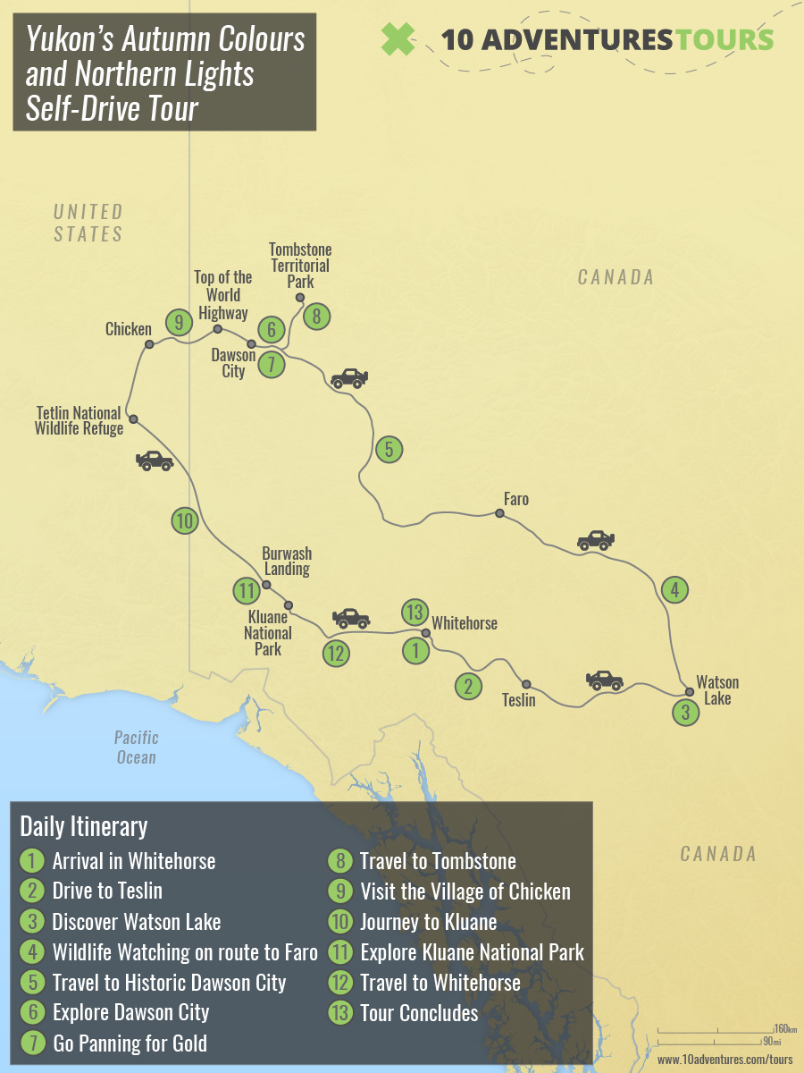Map of Yukon's Autumn Colours and Northern Lights Self-Drive Tour