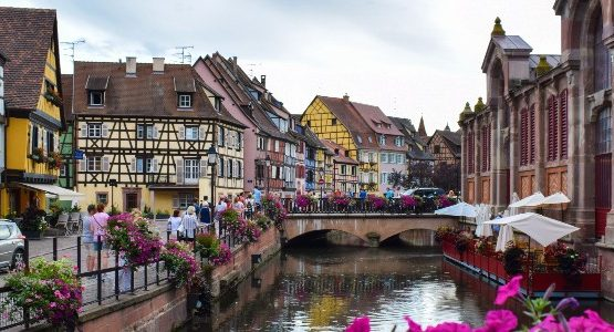 Colorful village in Alsace-Lorraine (France)