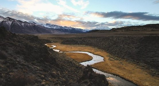 Beautiful river and the sunset in Sierra Nevada mountains