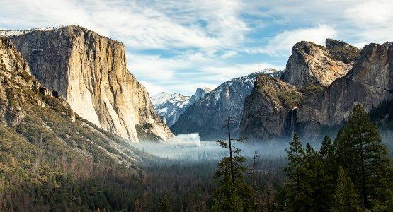 Yosemite valley view in California
