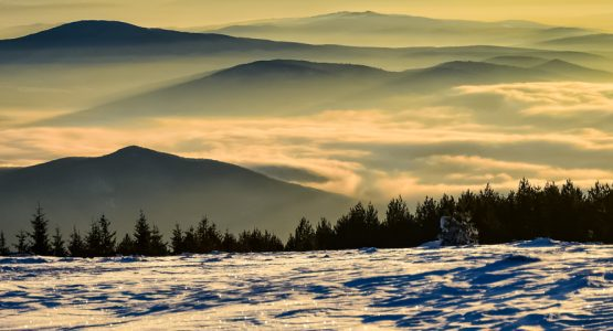 Panoramic view from Ski Touring in Bulgaria