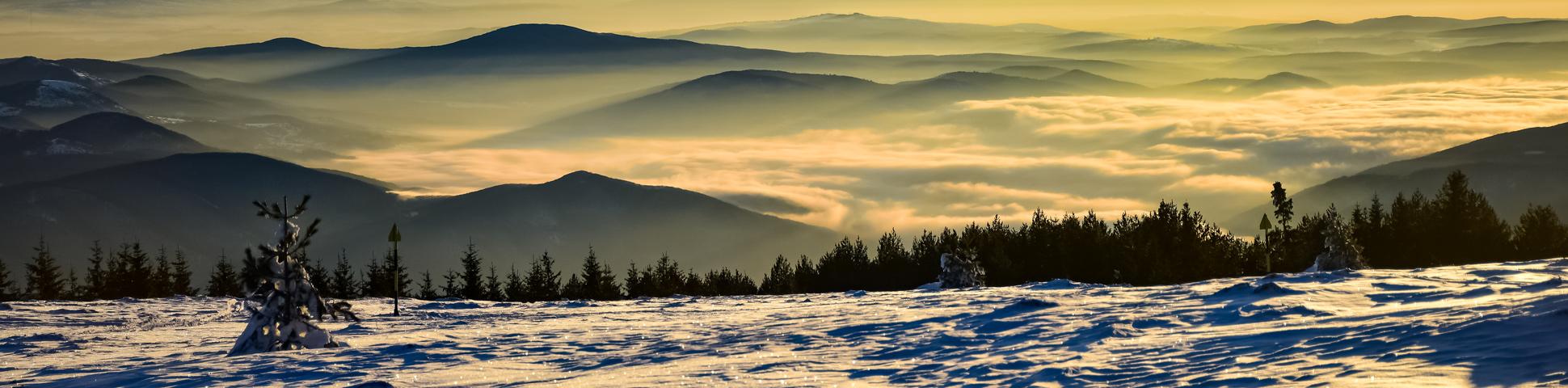 Panoramic view from Ski Touring in Bulgaria