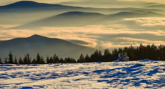 Panoramic view from Snowshoeing in Bulgaria