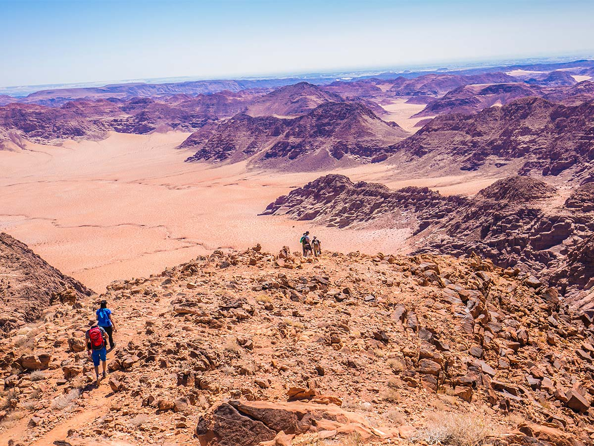Hikers on guided Jordan Adventure Holiday tour