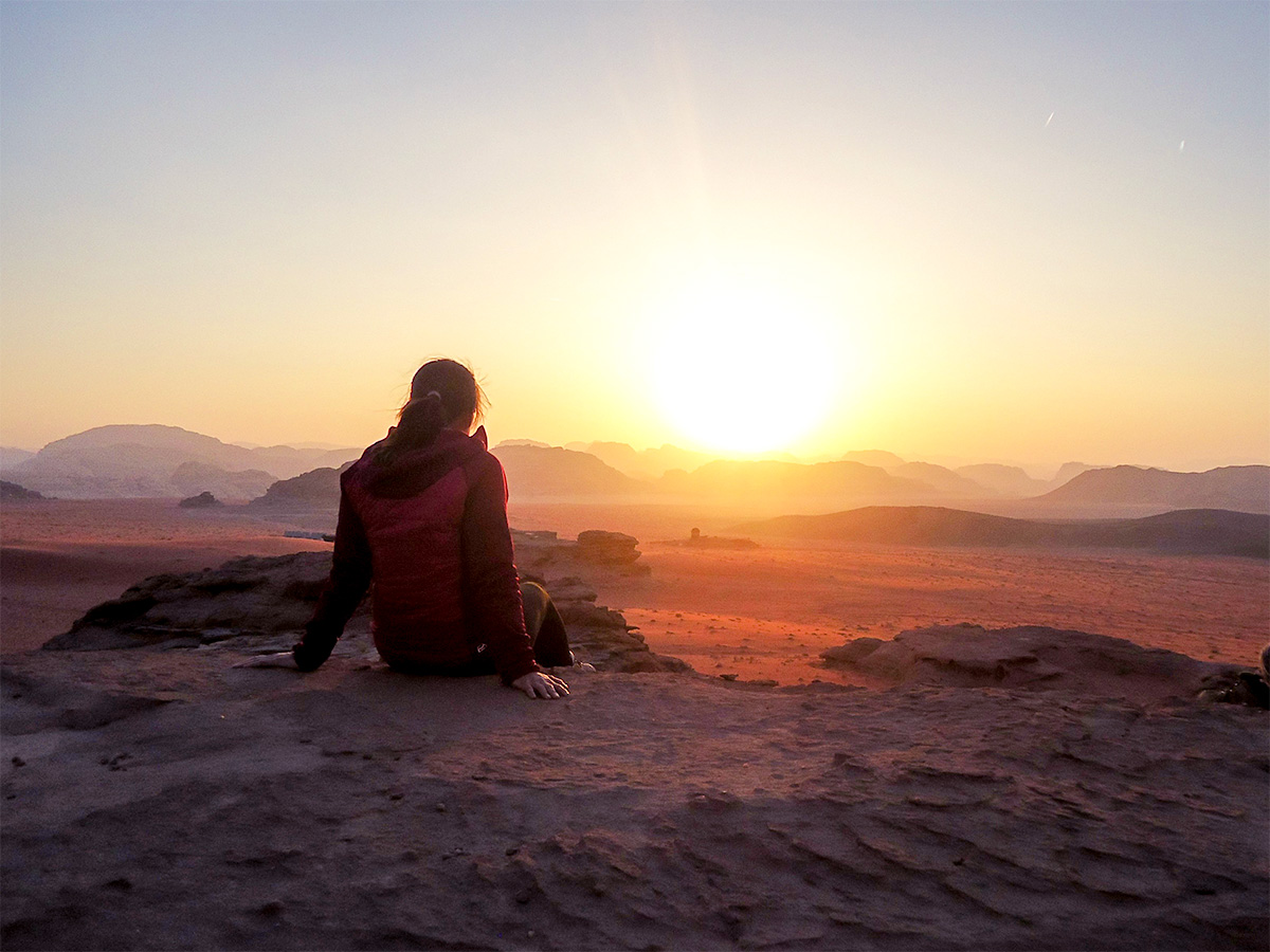 Romantic sunset on Jordan Adventure Holiday guided tour