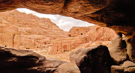 Looking from the cave on Jordan Adventure Holiday guided tour