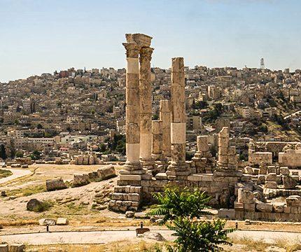 Beautiful ruins near Amman on Jordan Adventure Holiday guided tour