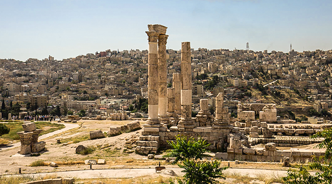 Beautiful ruins near Amman on Jordan Adventure Holiday guided tour