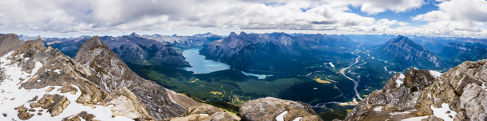 Panoramic view of Peyto Lake and Icefields Parkway on self-guided trekking tour