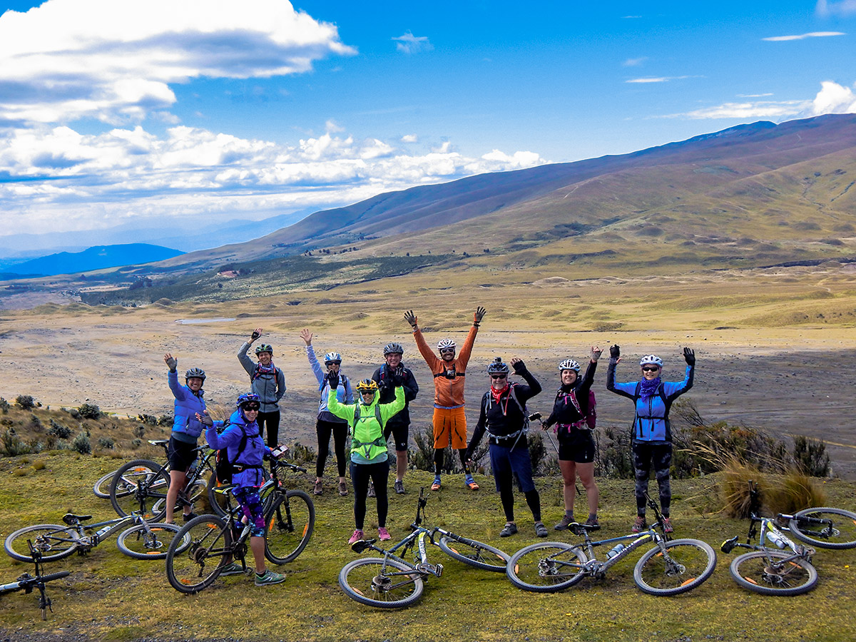 Happy bikers on trail Cross Country Cycling in Ecuadorian Andes