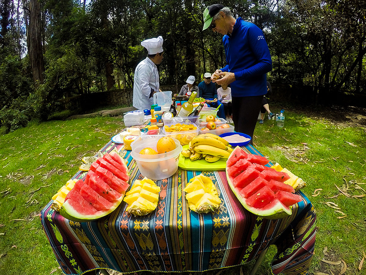 Picnic with group on Cross Country Cycling in Ecuadorian Andes