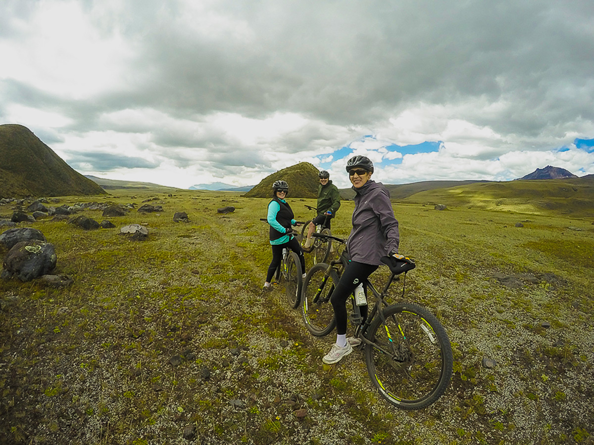 Biking on single track in Cotopaxi on Cross Country Cycling in Ecuadorian Andes