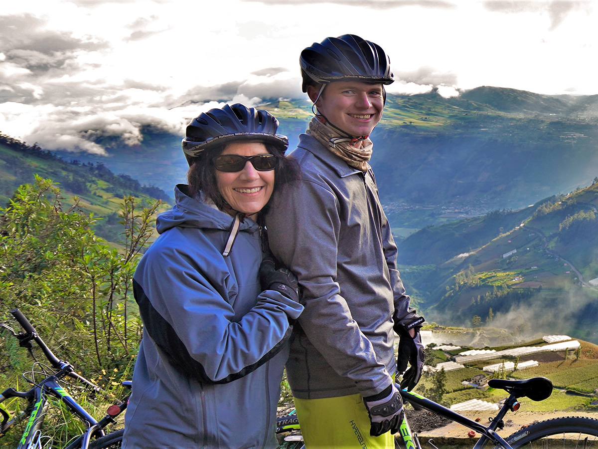 Family on cross country cycling tour in Ecuador